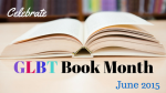 Open book with GLBT Book Month banner under it