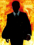Image of Alex Cross silouetted against a backdrop of flames