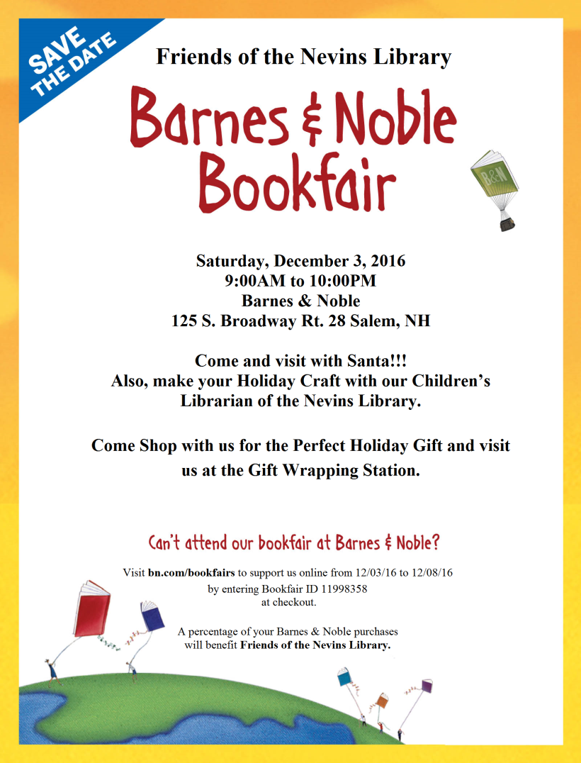 Friends of the Library Book Sale announcement - December 3 at Barnes and Noble in Salem, New Hampshire