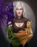 Image of Daenarys with three dragons