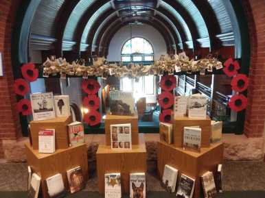 Veteran's Day display with books